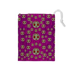 Ladybug In The Forest Of Fantasy Drawstring Pouches (Medium)