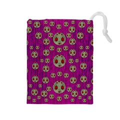Ladybug In The Forest Of Fantasy Drawstring Pouches (Large)
