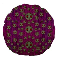 Ladybug In The Forest Of Fantasy Large 18  Premium Flano Round Cushions
