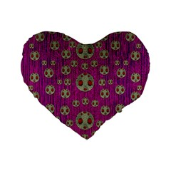 Ladybug In The Forest Of Fantasy Standard 16  Premium Flano Heart Shape Cushions