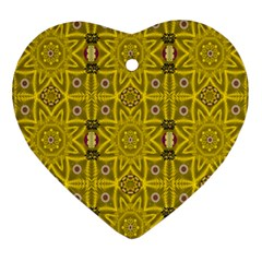 Stars And Flowers In The Forest Of Paradise Love Popart Ornament (Heart)