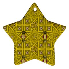 Stars And Flowers In The Forest Of Paradise Love Popart Ornament (Star)