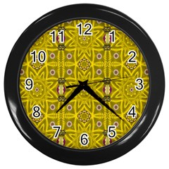 Stars And Flowers In The Forest Of Paradise Love Popart Wall Clocks (black)