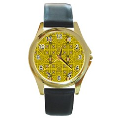 Stars And Flowers In The Forest Of Paradise Love Popart Round Gold Metal Watch