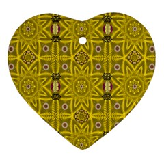 Stars And Flowers In The Forest Of Paradise Love Popart Heart Ornament (Two Sides)