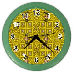Stars And Flowers In The Forest Of Paradise Love Popart Color Wall Clocks