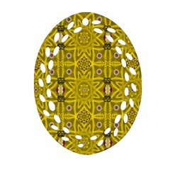 Stars And Flowers In The Forest Of Paradise Love Popart Oval Filigree Ornament (Two Sides)