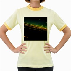 Night Lights Women s Fitted Ringer T-Shirts