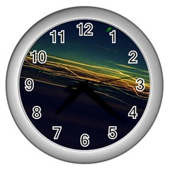 Night Lights Wall Clocks (Silver)