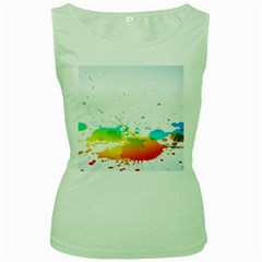 Colorful Abstract Women s Green Tank Top