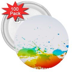 Colorful Abstract 3  Buttons (100 Pack)