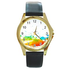 Colorful Abstract Round Gold Metal Watch