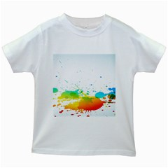 Colorful Abstract Kids White T-Shirts