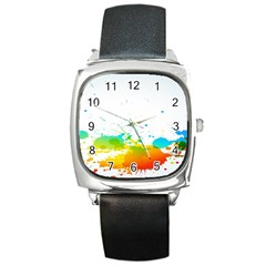 Colorful Abstract Square Metal Watch