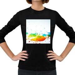 Colorful Abstract Women s Long Sleeve Dark T-Shirts