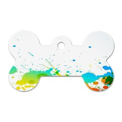 Colorful Abstract Dog Tag Bone (one Side)