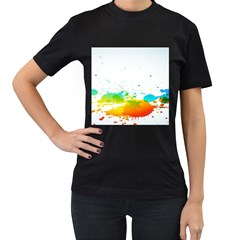 Colorful Abstract Women s T-Shirt (Black)