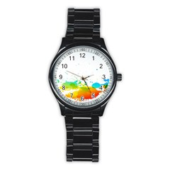 Colorful Abstract Stainless Steel Round Watch