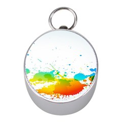 Colorful Abstract Mini Silver Compasses