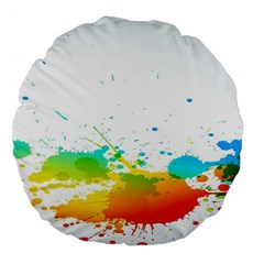 Colorful Abstract Large 18  Premium Flano Round Cushions