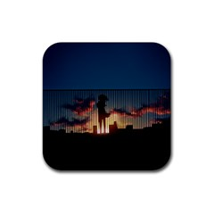 Art Sunset Anime Afternoon Rubber Square Coaster (4 pack)