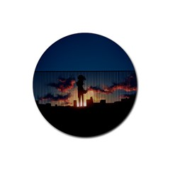 Art Sunset Anime Afternoon Rubber Round Coaster (4 Pack)