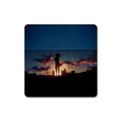 Art Sunset Anime Afternoon Square Magnet