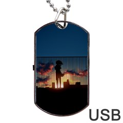 Art Sunset Anime Afternoon Dog Tag Usb Flash (two Sides)