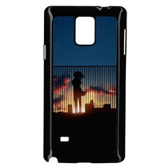 Art Sunset Anime Afternoon Samsung Galaxy Note 4 Case (Black)