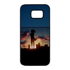Art Sunset Anime Afternoon Samsung Galaxy S7 Edge Black Seamless Case