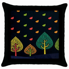 Vector Color Tree Throw Pillow Case (Black)