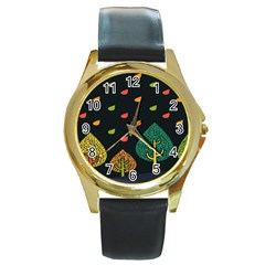 Vector Color Tree Round Gold Metal Watch