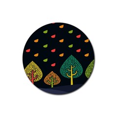 Vector Color Tree Rubber Round Coaster (4 Pack)