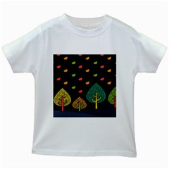 Vector Color Tree Kids White T Shirts