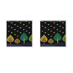 Vector Color Tree Cufflinks (square)