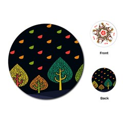 Vector Color Tree Playing Cards (round)