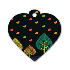 Vector Color Tree Dog Tag Heart (one Side)
