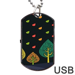 Vector Color Tree Dog Tag USB Flash (One Side)