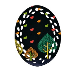 Vector Color Tree Oval Filigree Ornament (two Sides)