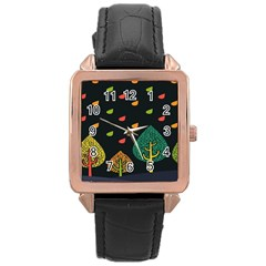Vector Color Tree Rose Gold Leather Watch