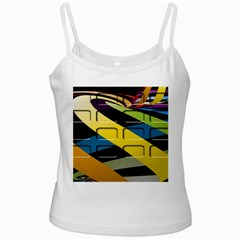 Colorful Docking Frame White Spaghetti Tank
