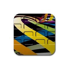 Colorful Docking Frame Rubber Square Coaster (4 Pack)