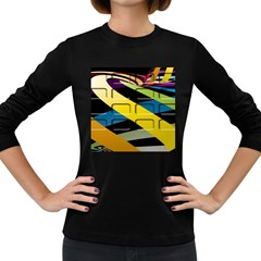 Colorful Docking Frame Women s Long Sleeve Dark T Shirts