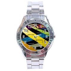 Colorful Docking Frame Stainless Steel Analogue Watch