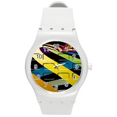 Colorful Docking Frame Round Plastic Sport Watch (m)