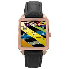 Colorful Docking Frame Rose Gold Leather Watch