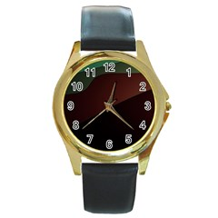 Color Vague Abstraction Round Gold Metal Watch