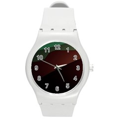 Color Vague Abstraction Round Plastic Sport Watch (M)