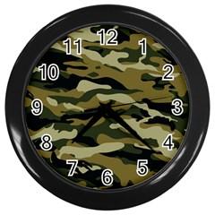 Military Vector Pattern Texture Wall Clocks (Black)