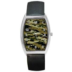 Military Vector Pattern Texture Barrel Style Metal Watch